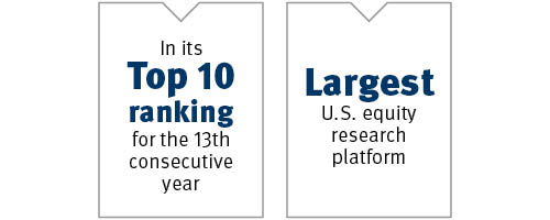 Stifel, No.1 Ranking for 2nd consecutive year, in StarMine top 10 for the 11th consecutive year, largest U.S. equity research platform with more than 1,600 stocks under coverage